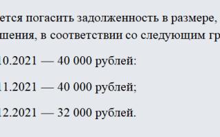 Соглашение о рассрочке выплаты долга